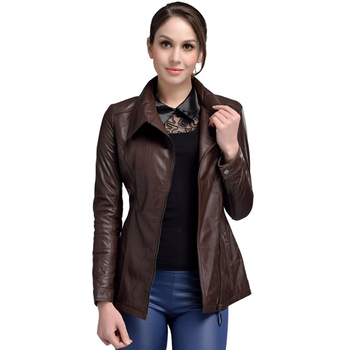 High Quality Genuine Leather Jacket Women Real Sheepskin Brown Jacket Closeout Sale Female Leather Jacket Long Style Autumn Coat leather jacket