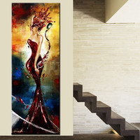 Large Sexy Beautiful Woman & Red Wine Pictures Modern Home Decor Wall Art Painting Hand Painted Abstract Oil Paintings on Canvas