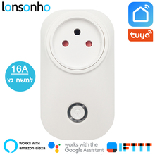 Lonsonho Israel Smart Socket Wifi Plug Power Meter 16A 3 Pin with Ground Life Tuya App Works Alexa Google Home