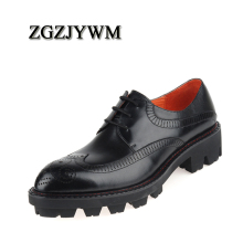 ZGZJYWM Brand Fashion High Quality Genuine Leather Business Dress Thick Soles Lace Up Black/Red Breathable Oxfords Men Shoes