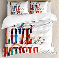Lifestyle Duvet Cover Set I Love Music Phrase Grunge Effects and Birds Flying Soul Freedom Bedding Set Pillow Shams Queen/Full