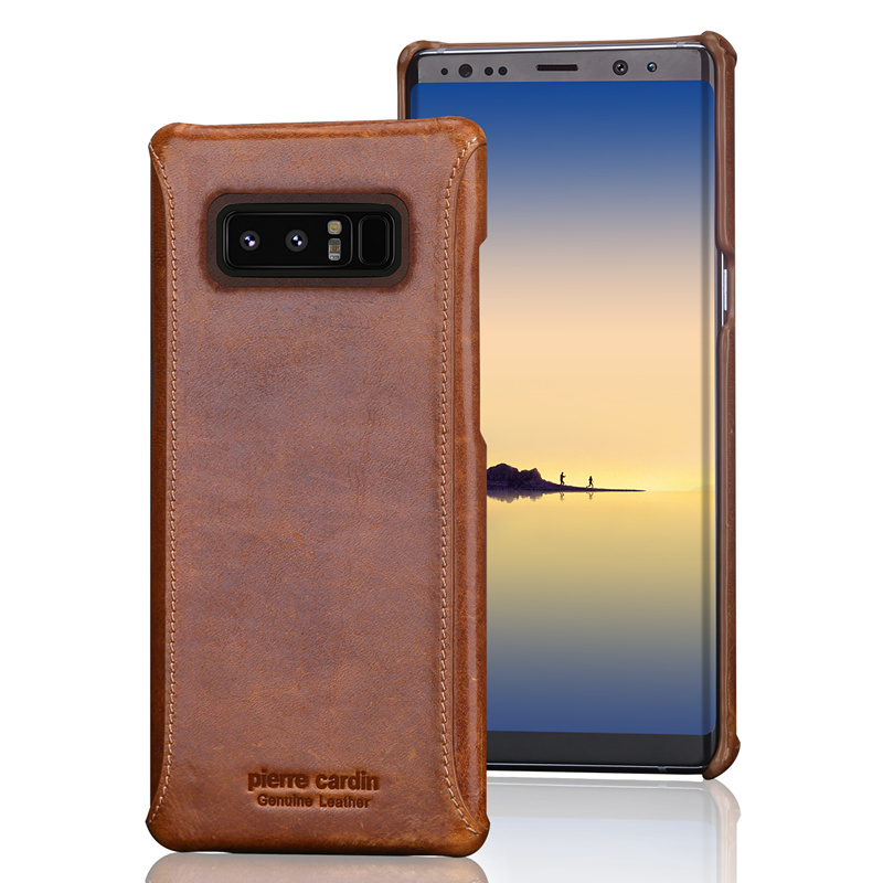 Pierre Cardin Genuine Leather For Samsung Galaxy Note 4 Note 5 Note 7 Note 8 Vintage Slim Hard Back Cover Cases Free Shipping in Fitted Cases from Cellphones Telecommunications