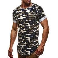 BORRUIC 2018 Men Camouflage Slim Fit T Shirt Pleated Short Sleeve T Shirt Mens Camo Longline
