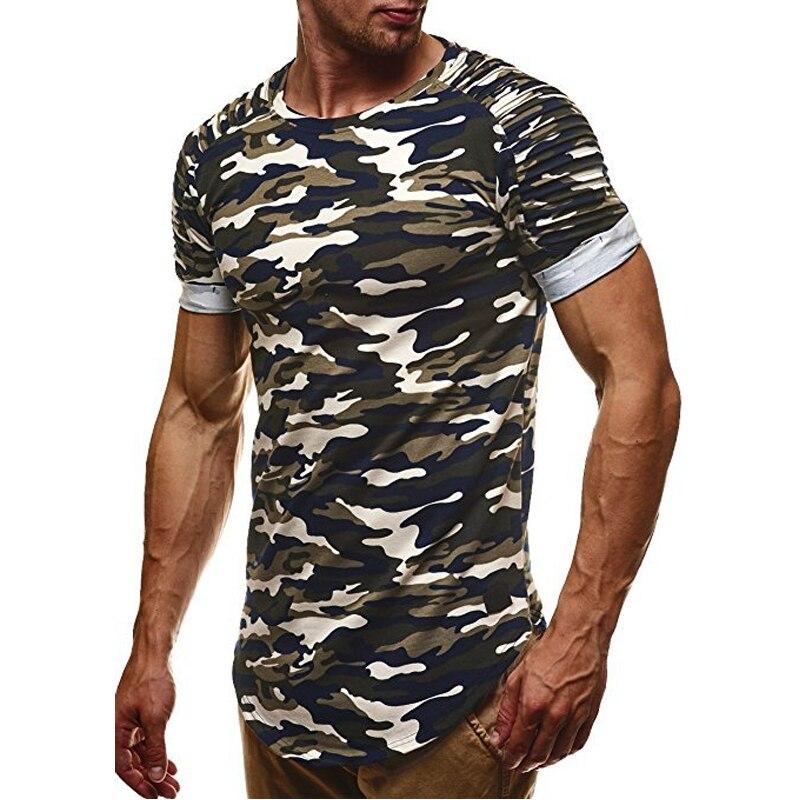 BORRUIC 2018 Men Camouflage Slim Fit   T     Shirt   Pleated Short Sleeve   T     Shirt   Mens Camo Longline Curved Hem Hip HHop Casual   T     Shirts
