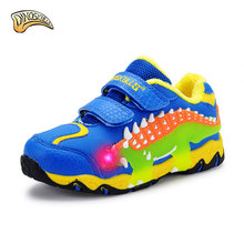 Dinoskulls детей Обувь 2017 Обувь для мальчиков Спортивная обувь спортивная обувь ребенок резиновые для отдыха кроссовки Повседневное дети Спортивная обувь 3D динозавров Обувь