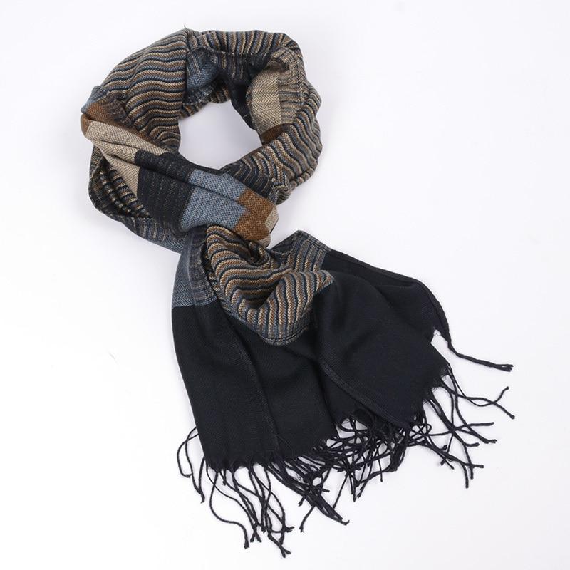 JeouLy 2017 dubbele fijne gestreepte Sjaals mannen winter nieuwe merk Mode Plaid Sjaal voor Mannen gezellige warme lange Kwastjes sjaal katoen blauw