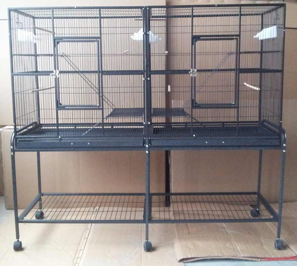 Free Shipping To USA High Quality Large Bird Canary Finch Breeding Cage Double cage style Parrot Cage B437