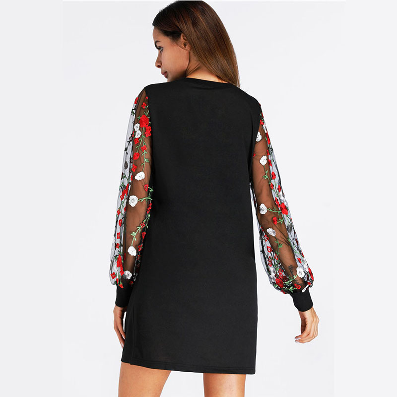 DHIHKK 2018 Tunic Dress With Embroidered Mesh Bishop Sleeve Black Long  Sleeve Autumn And Summer Dress Womens Casual Shift Dress-in Dresses from  Women s ... 652f67e3efcd