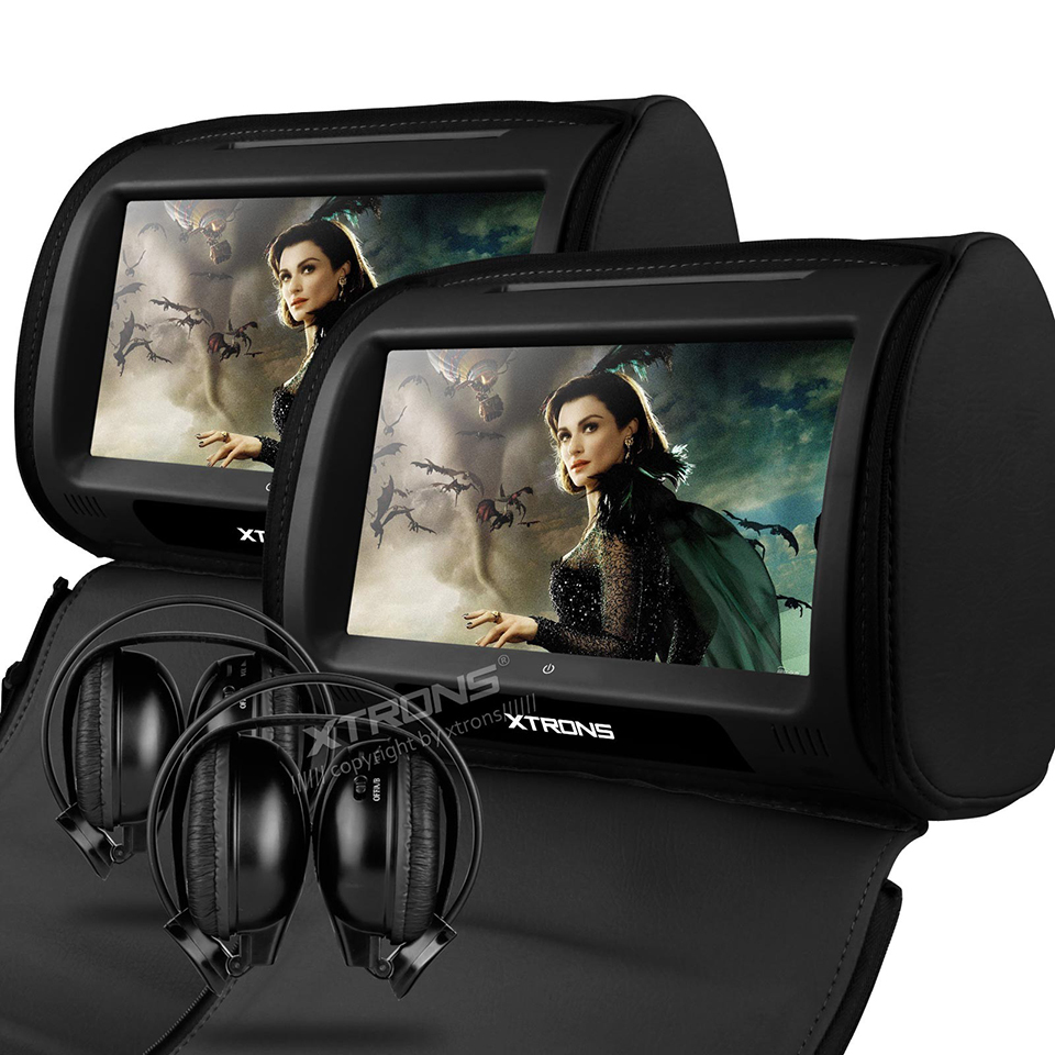 Aliexpress com buy 2x9 headrest car dvd player support 32 bits games cover with zipper built in ir fm seatback digital touch screen pillow monitor from