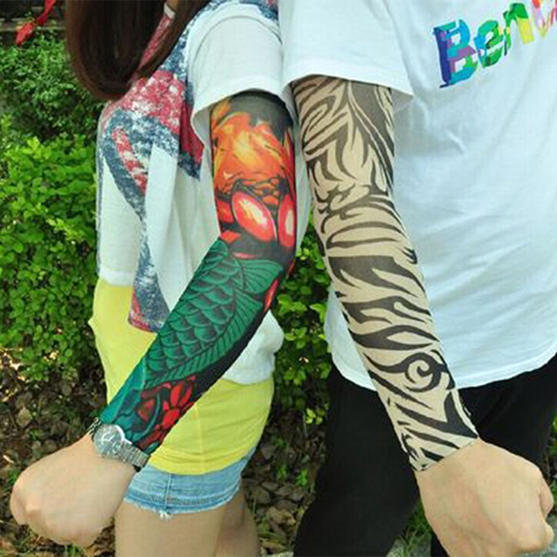 Cool simulation tattoo sleeve arm sunscreen arm warmers for Best sunblock for tattoos