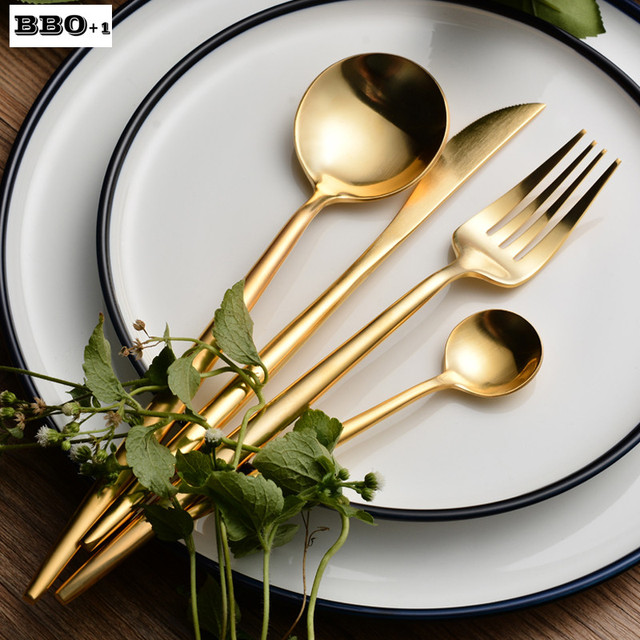 4/8/16/24pcs Dinnerware Golden Plated Stainless Steel Cutlery Set Table Fork & 4/8/16/24pcs Dinnerware Golden Plated Stainless Steel Cutlery Set ...