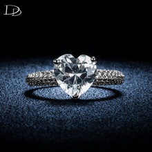 big heart stone 3 carat crystal jewelry engagement wedding rings for women 925 sterling silver luxury anel wholesale DD048