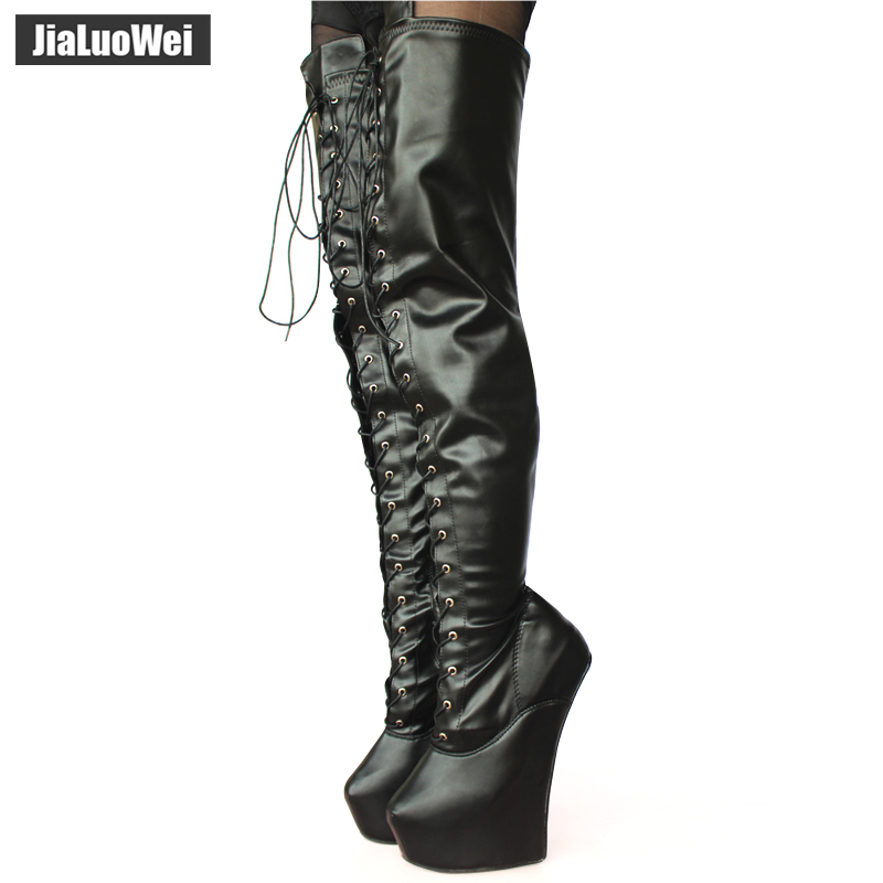 jialuowei New 20cm High Heel Pony Heelless Strange Style Sole Heelless 5cm Platform Cross-tied Fetish Sexy Crotch High Boots jialuowei 20cm high heel 5cm platform fetish sexy knee high cross tied heelless wedge horse ponying stallion hoof sole boots