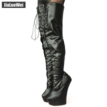 jialuowei New 20cm High Heel Pony Heelless Strange Style Sole 6cm Platform Cross-tied Fetish Sexy Crotch Boots
