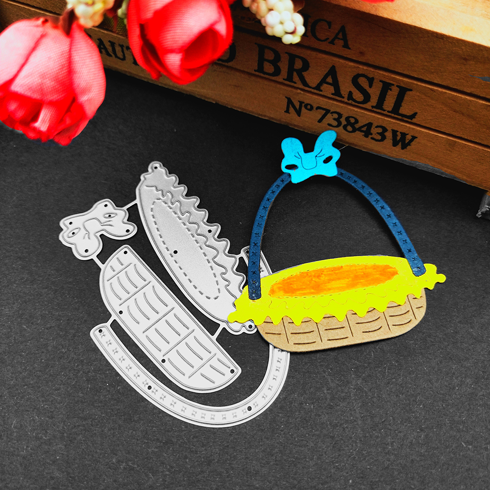 HamyHo Metal Cutting Dies Weave Food Basket Dies Cut Scrapbooking Stamping Dies Album Card Photo Decorate Craft 2018 New