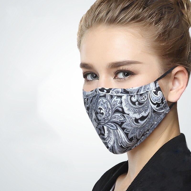 Face Mask Cotton Mouth Mask Black Anti Haze Dust Masks Filter Windproof Mouth-muffle Bacteria Flu Fabric Cloth Respirator &2 Men's Masks Men's Accessories