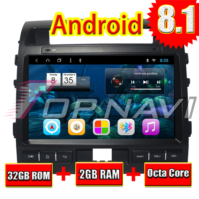 Voiture véhicule GPS Navigation pour Toyota Land CRUISER 2007 2008 2009 2010 2011 2012 2013 2014 2015 10.1 ''Android 8.1 Topnavi Radio