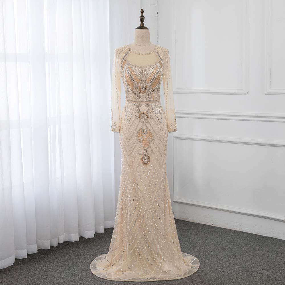YQLNNE 2019 Luxury Champagne Rhinestones   Evening     Dresses   Long Sleeve Formal Women Gown Mermaid   Dress   Robe de Soiree