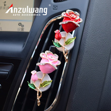 ANZULWANG Car Aromatherapy Artificial Crystal Rose Model Car Styling Air Freshener Car Air Conditioning Vent Perfume Decoration