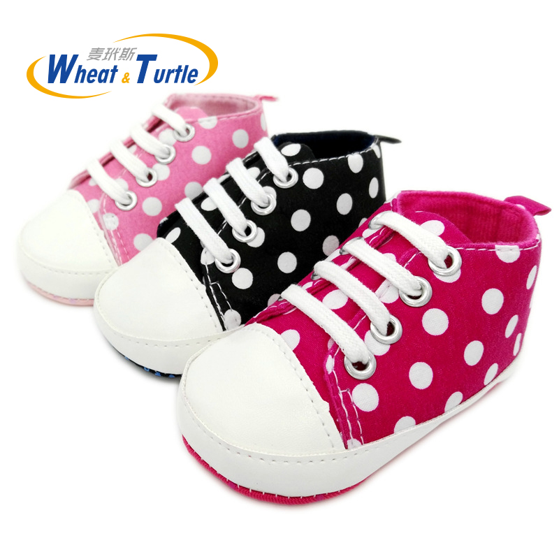 Mother Kids Polka Dots Autumn Spring Lace-Up Unisex Newborn Baby Shoes Non-Slip First Walkers Sneakers Toddler Girl Casual Shoes