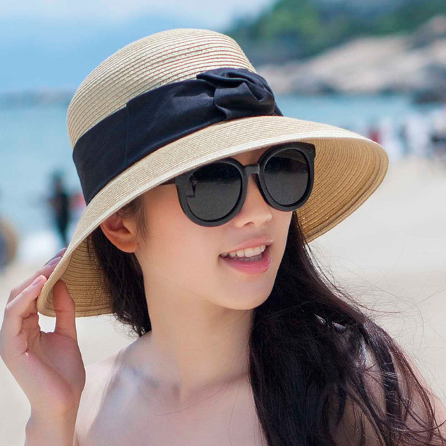 2016 New Lady Sun Hat Summer Straw Hat Women Folded Wide Brim Sun Cap Elegant Travelling Hat New Headwear B-1970