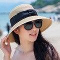 2016 novo chapéu de senhora sol chapéu de palha do verão mulheres dobrado aba larga Sun Cap elegante viajar chapéu nova Headwear B-1970