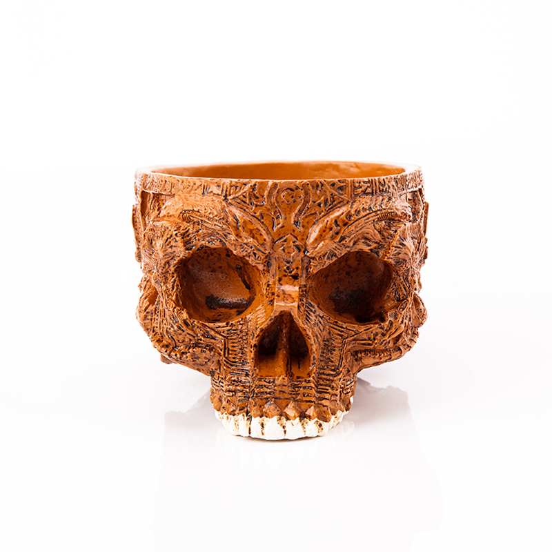 P Flame Human Skull Flower Pot Decorative Bowls Plates Hand Carved Resin Crafts Alien Mask Garden Pot For Halloween Home Decor