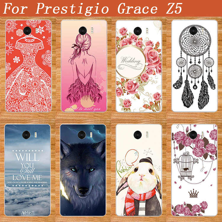 Fashion 10 styles SOFT TPU Silicone DIY Painted Phone case For Prestigio Grace Z5 PSP5530DUO 5530 Duo Back Cover For PSP5530