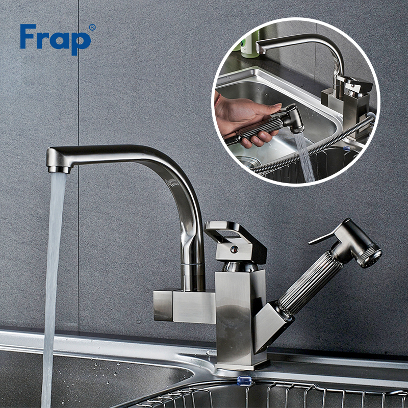 Frap Modern Brushed Kitchen Faucets 360 Degree Pull Out Deck Mount Sink Vessel Faucet Double Spout For Kitchen Mixer Taps Y40058 frap kitchen faucets pull out shower sprayer deck mount sink vessel kitchen sink faucet dual spout for kitchen mixer taps y40058