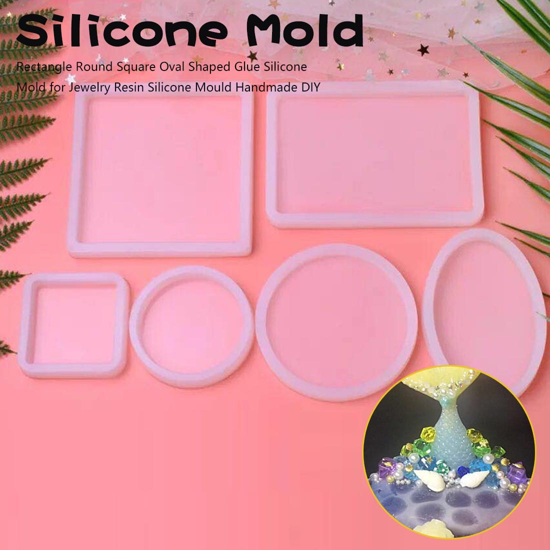 DIY Handicrafts Accessories Polymer Clay Resin Craft Mould Ceramics Molds Clay Molds Portable Round Oval Square Shaped Silicone