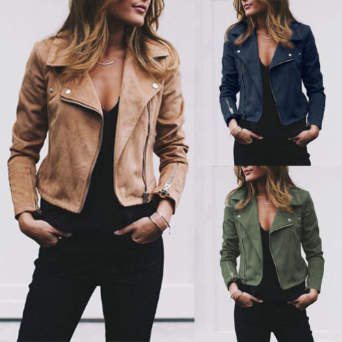 Autumn Winter NEW Women Faux Leather Jacket Flight Coat Zip Up Cropped Chic Cool Ladies Biker Motor Tops Clothes leather jacket
