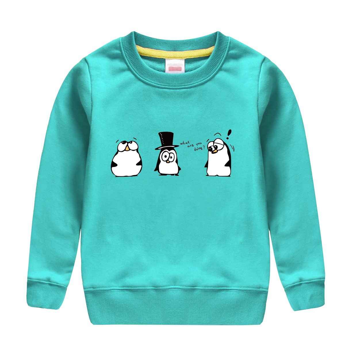 "HTB1JlzvfwDD8KJjy0Fdq6AjvXXa4 - ""what are you doing""pattern printed 2017 new fashion cotton sweatshirt , keeping warm and Non-fading , design for children"