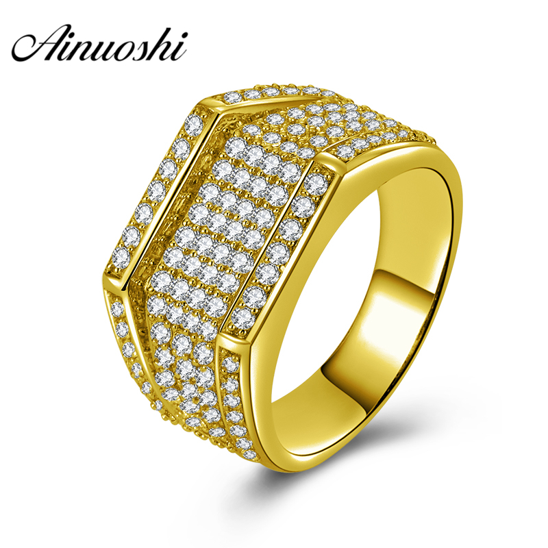 AINUOSHI Luxury Wedding Band 10K Solid Yellow Gold Ring Rows Drill Cluster Ring Wedding Engagement Gold Jewelry 7.4g Male RingAINUOSHI Luxury Wedding Band 10K Solid Yellow Gold Ring Rows Drill Cluster Ring Wedding Engagement Gold Jewelry 7.4g Male Ring