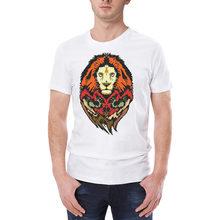 Impressão animal leão branco turismo camisas masculina algodão manga curta oversized tshirt harajuku verão 2019 ropa hombre de marca cg
