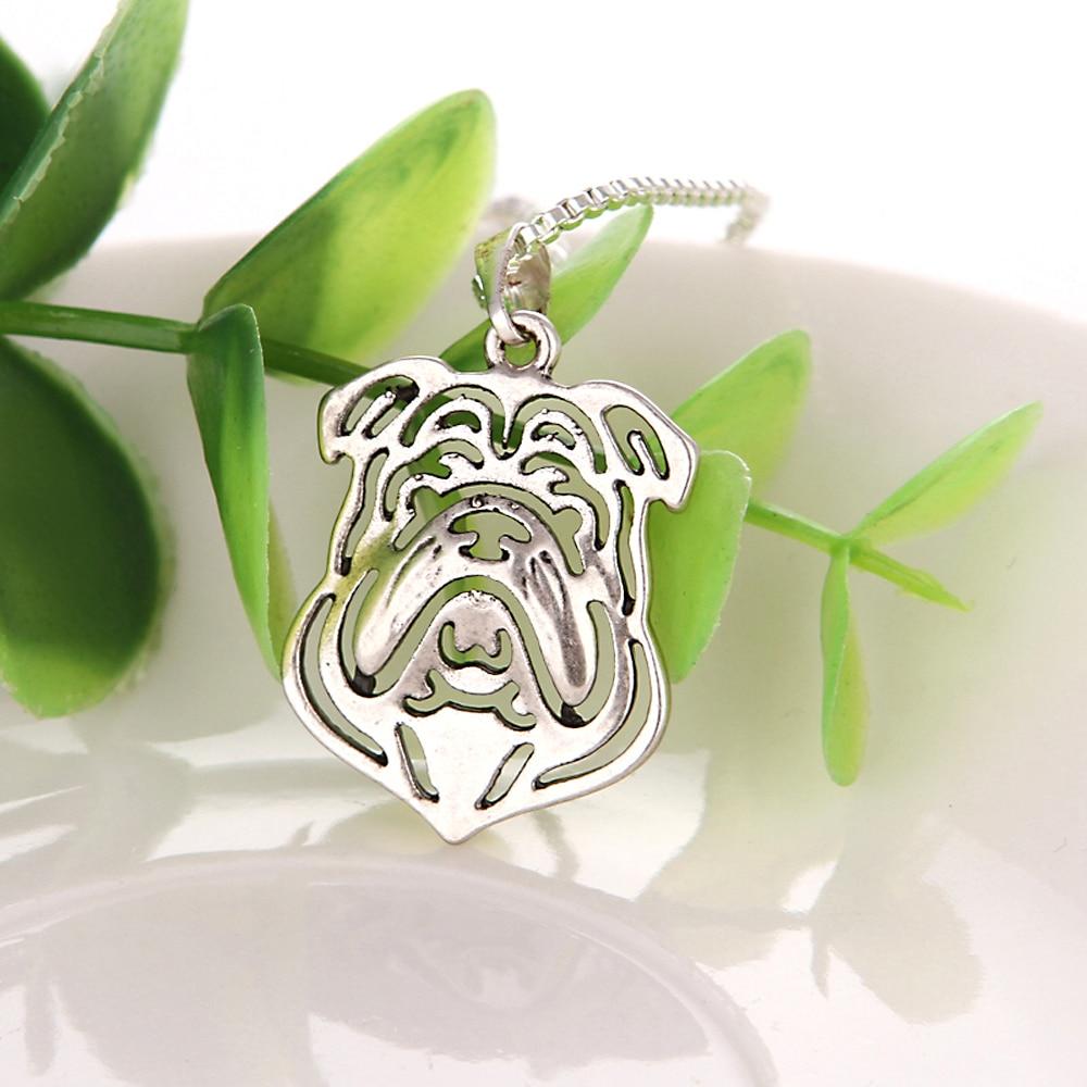 English Bulldog Necklace Pet Dog Pendant Jewelry Christmas Gift Grey ...