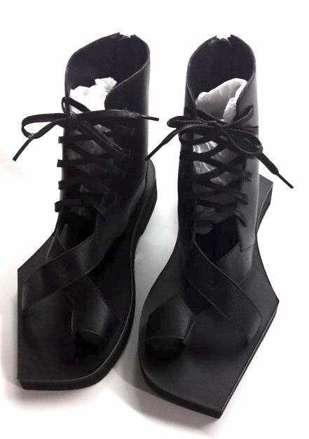 Новинка 2019 г. мужские черные кожаные повседневные сандалии с геометрической подошвой, массивная мужская обувь