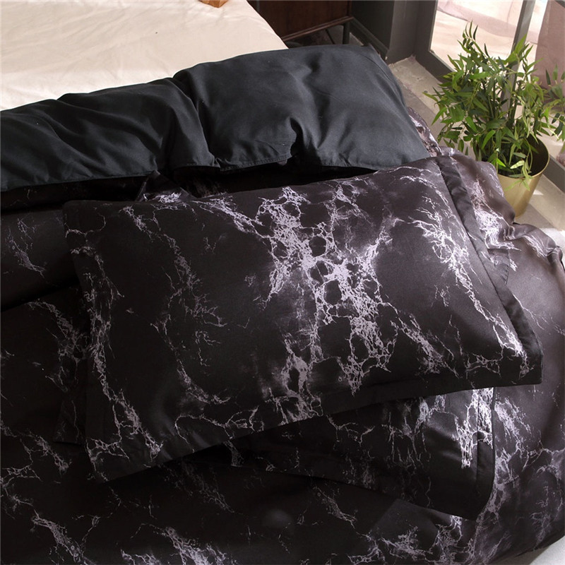 Image 3 - Simple Marble Bedding Duvet Cover Set Quilt Cover Twin King Size With Pillow Case Luxury Soft Duvets Sleep mask double bedspread-in Bedding Sets from Home & Garden