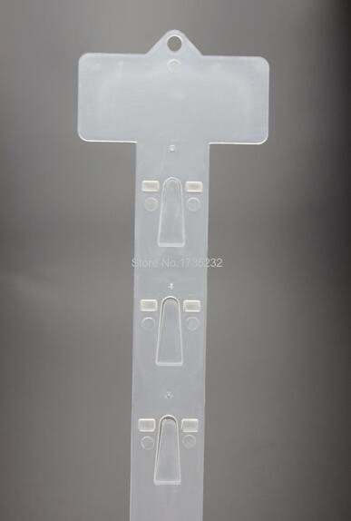L 620mm 500pcs Plastic Clear PP Retail Hanging Merchandising Clip Strip 12 hooks Products Display