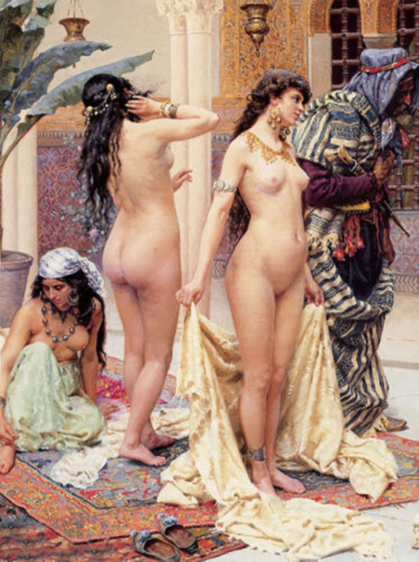 Naked Woman Painting Nude Girls Picking the Favourite Arab Slave Market by Giulio Rosati Oil Painting on Canvas Hand Painted