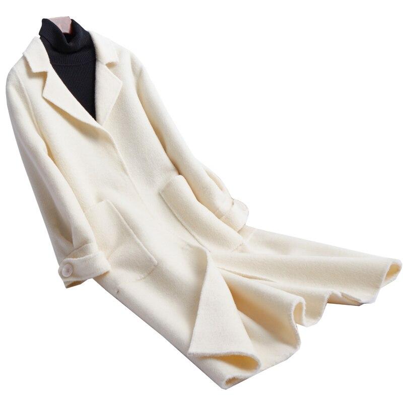 Двусторонняя фланелевая Женская мода средней длины пальто плащ стиль Закрытая Кнопка Белый ЕС/S 2XL розничная продажа оптом