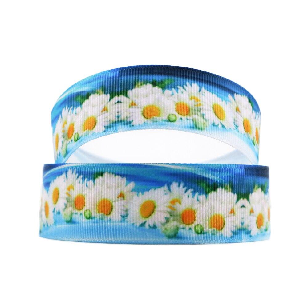 David accessories 3/8 «, 7/8», 1 «, 1,5» с цветочным принтом полиэстер grosgrain клейкие ленты 5yds, DIY ручной работы, свадебный подарок, 5Yc3645
