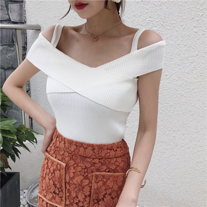 Summer Women Knitting Off-shoulder Tank Tops Camises Girls Knitted Camisole Sleeveless Sweater Tee Shirts Camis
