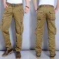 Pantalones Cargo para hombre Estilo Militar Multi Bolsillos 2016 Nueva Casual Hombres pantalones Tácticos Pantalones Cargo Pantalones de Tres colores disponibles