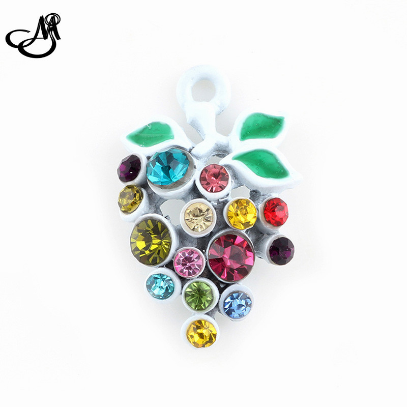 50pcs/lot Newst Design Colorful Rhinestone Grapes Charms Pendant Fit Bracelets Necklace DIY Metal Jewelry Making FA618