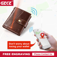GZCZ Free Engraving Genuine Leather Smart Wallet Men Coin Purse Short Male Wallets Portomonee Hasp Mens Money Bag Card Holder