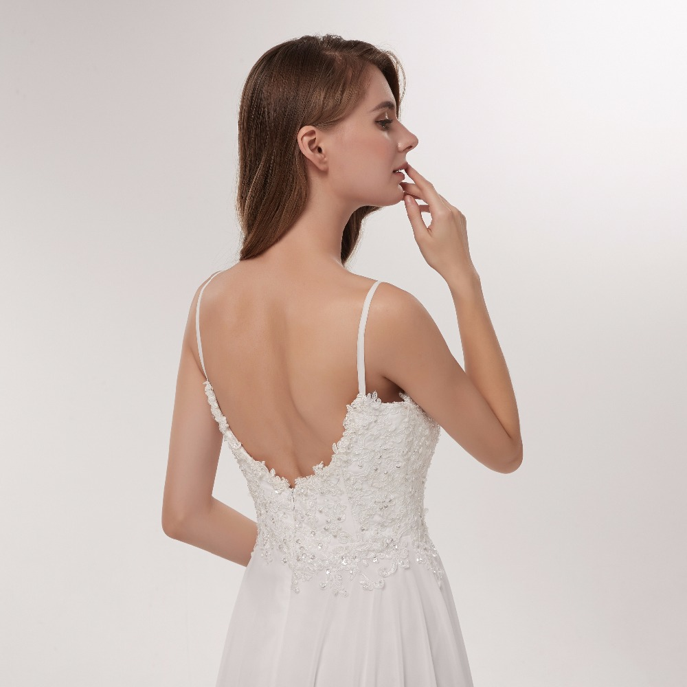 Купить с кэшбэком Spaghetti Strap Beach Wedding Dresses 2020 Deep V-Neck Bridal Gown Simple White Chiffon Backless Custom Made Vestido De Noiva