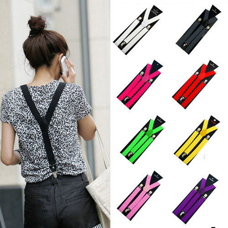 Fashion 17 Colors Mens Womens Clip-on Suspenders Elastic Y-Shape Adjustable Braces