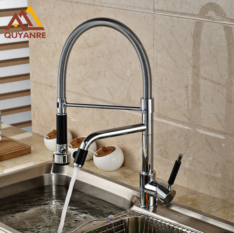 Chrome Single Handle Hole Kitchen Mixer Deck Mounted With Hot And Cold Pipes