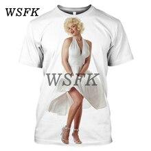 цена на WSFK Nouveau Tee shirt de sport décontracté Street Imprimé Marilyn Monroe Hommes et femmes