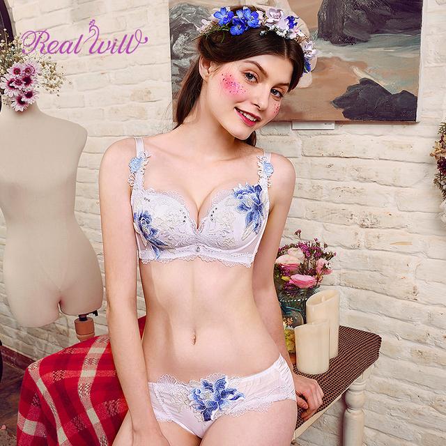 Realwill Women's Flower Embroidered Unpadded Bra Set Women's Brassiere Push Up Bra Female Underwire Sexy Bra Panty